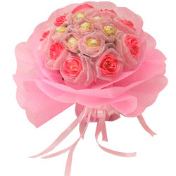 Blushing Long Lasting Pink Roses Love and Welcome Treat of Ferrero Rochers