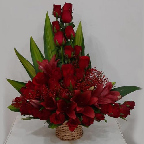 Striking Arrangement of Red Roses N Lilies