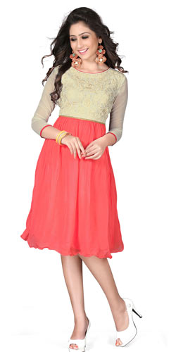 Dazzling Georgette Embroidered Kurti in Beige and Pink Colour