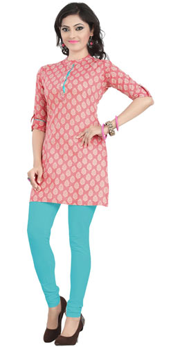 Smashing Pink Coloured Cambric Cotton Printed Kurti