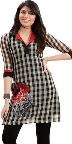 Vivacious Lure Linen Checks Kurti
