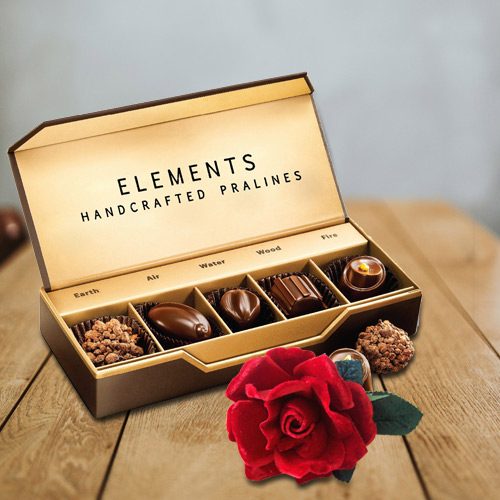 Luxurious Chocolate Box from ITC with a Velvet Red Rose