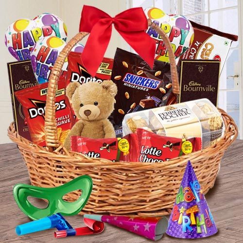 Tasty Gift Basket of Chocolates, Teddy N Assortments