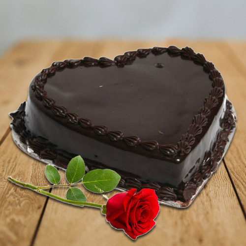 Yummy Heart-Shaped Chocolate Cake N Single Rose