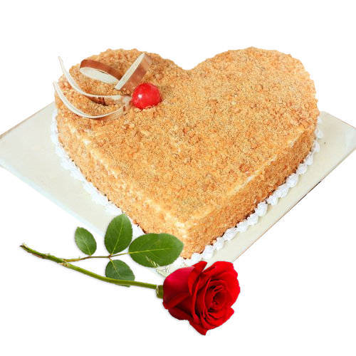 Luscious Heart-Shaped Butter Scotch Cake with Red Rose
