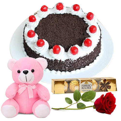 Delicious Ferrero Rocher with Teddy, Rose N Eggless Black Forest Cake