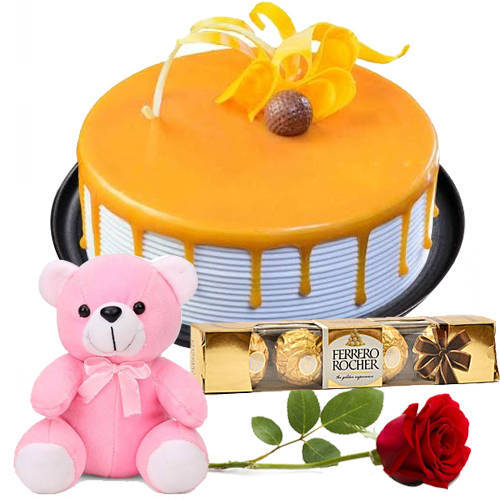 Delicious Ferrero Rocher with Rose, Eggless Butterscotch Cake N Teddy