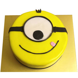 Sumptuous 1 Eye Minions Fondent Cake for Kids