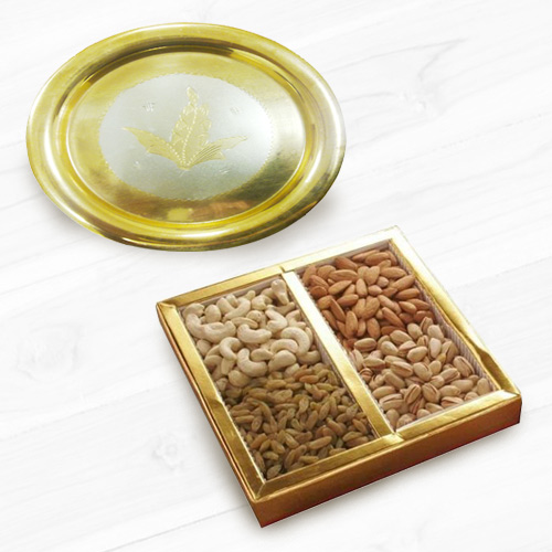 Gold Plated Thali   Mixed Dry Fruits