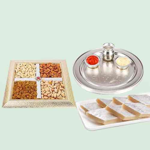 Thali with Mixed Dry Fruits N Kaju Katli