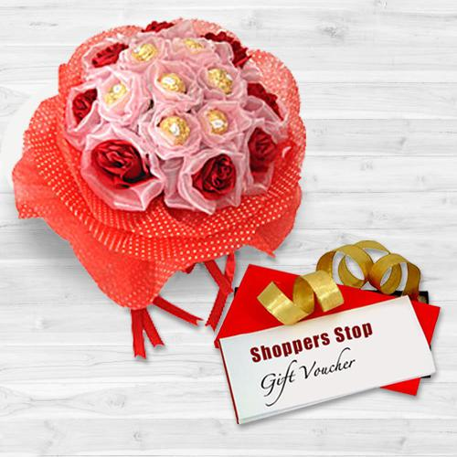 Extravagant Gift of Gift Coupon worth Rs.1000 from Shoppers Stop, Red Roses Bunch N 8 Pc. Ferrero Rocher Chocolate Bouquet