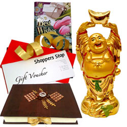 Superb Present of Shoppers Stop Vouchers, Laughing Buddha, Homemade Chocolates  N  a Free Best Wishes Card
