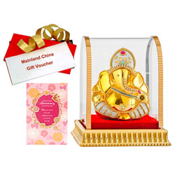 Caring Gift of Vighnesh Idol, Mainland China Gift Voucher and Anniversary Card