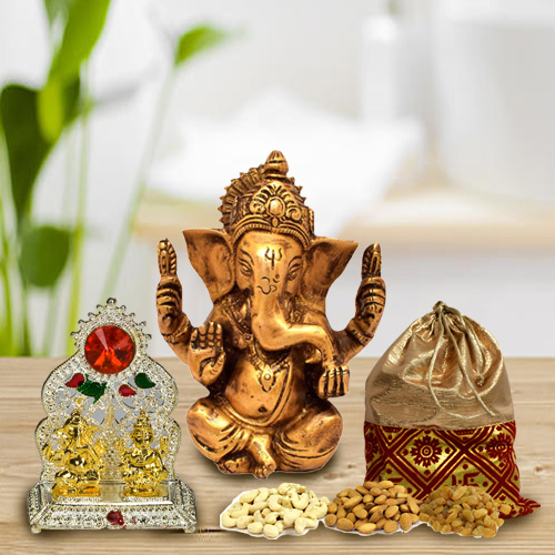 Exclusive Lord Ganesha Murti with Mandap and Dry Fruits