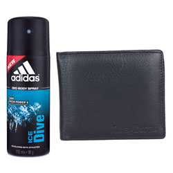 Gift Combo of Longhorns Leather Wallet with Addidas Deo
