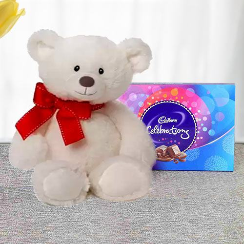 Big White Teddy with Cadbruy Chocolates