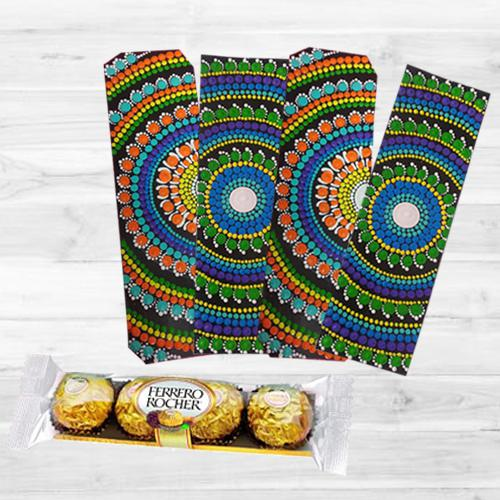 Impressive Handmade Dot Mandala Art Bookmarker with Ferrero Rocher
