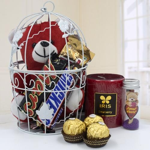Amazing Love Cage of Teddy n Chocolates
