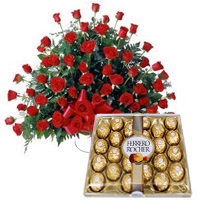 Outstanding gathering of Red Roses and delightful Ferrero Rocher
