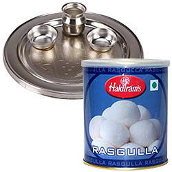 Enticing Haldirams Rasgulla with Silver Plated Puja Thali