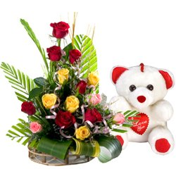 15 Mixed Roses Arrangement with Teddy bear