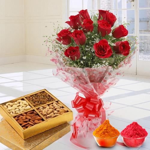 Exclusive 12 Red Roses along with yummy mixed Dry Fruits