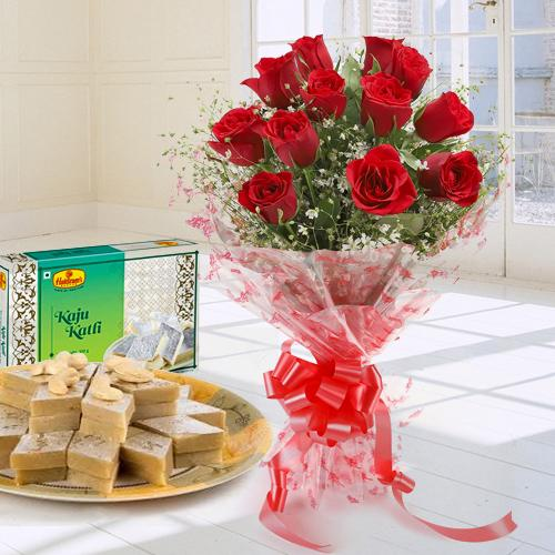 Passionate 1 Dozen Red Roses Bouquet and 250 Gms. Kaju Katli