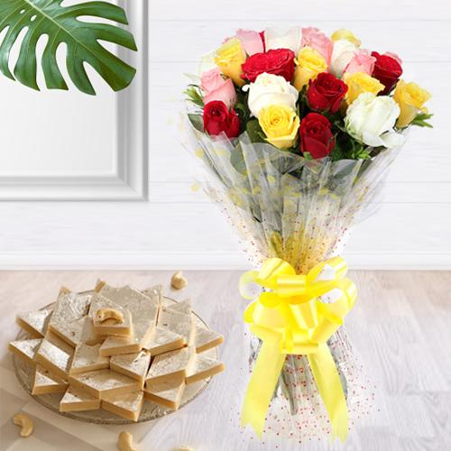 Blooming Bouquet of 2 Dozen Blended Roses and 1 Kg. Kaju Barfi