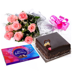 Yummy Cake, Pink Rose Bouquet and Cadbury Celebrations