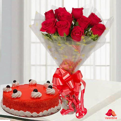 Mouth-watering Red Velvet Cake with Beautiful Red Rose Bouquet