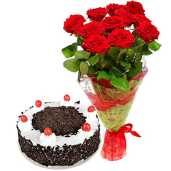 Charming Red Rose Bouquet with Black Forest Cake