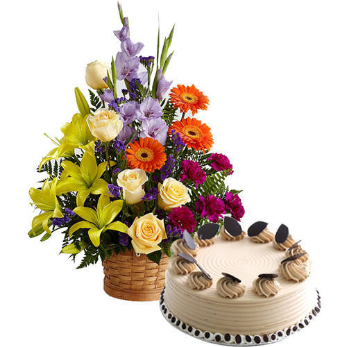 Gorgeous Mixed Flowers Arrangement with Coffee Cake