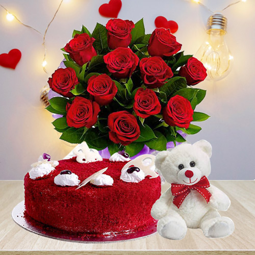 Classic Gift of Red Roses Bouquet with Red Velvet Cake N Teddy