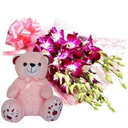 Elegant Beauty of Orchids Bunch with Teddy