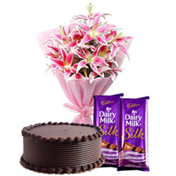 Midnight Delivery of Sweet Chocolate Cake with Lilies Bouquet and Chocolates