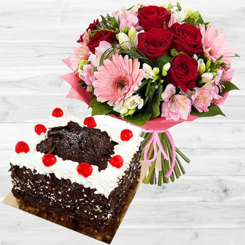 Dazzling Mixed Flowers Bouquet with Black Forest Cake<br>