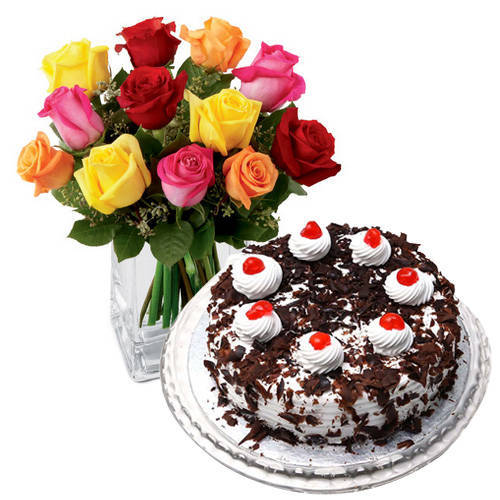 Spectacular Mixed Roses with Black Forest Cake from Taj or 5 Star Bakery