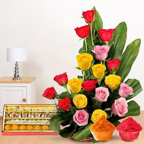 Admirable colorful mixed Roses and palatable assorted Sweets