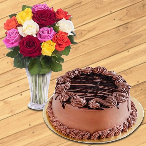 Joyful Mixed Roses in a Glass Vase with Chocolate Cake<br><br>