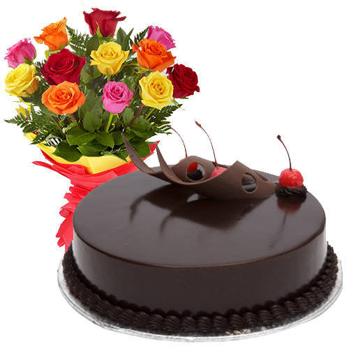Stunning Mixed Roses with Chocolate Cake<br>