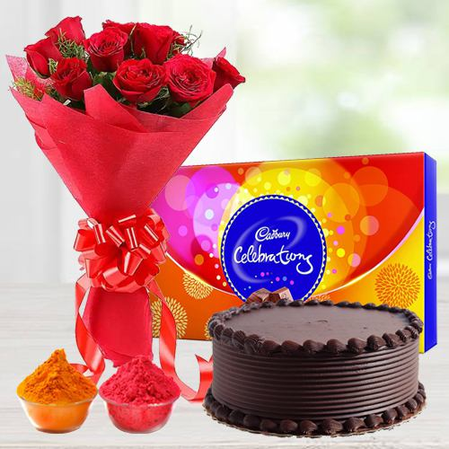 Nicely Gift Wrapped 12 Red Roses Bouquet with Fresh Baked Chocolate Cake 1 Lb From Best Local Bakery and Assorted Chocolates with free Gulal/Abir Pouch.