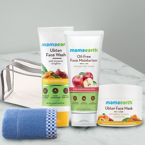Adorable Mamaearth Natural Face Care Kit with Soft Face Towel N Pouch