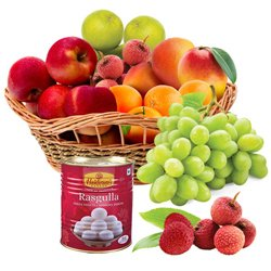 Sumptuous Fresh Fruits Basket with Haldirams Rasgulla
