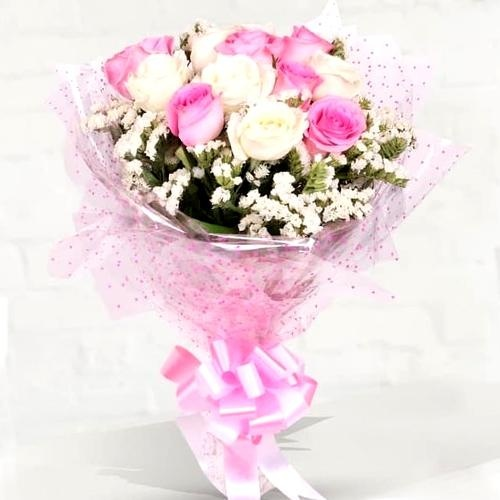 Luscious Pink and White Roses Bunch