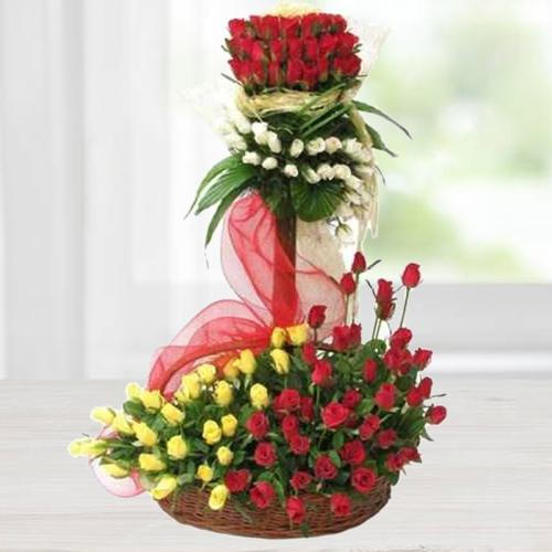 Artfully Arranged Multicolored Red Roses