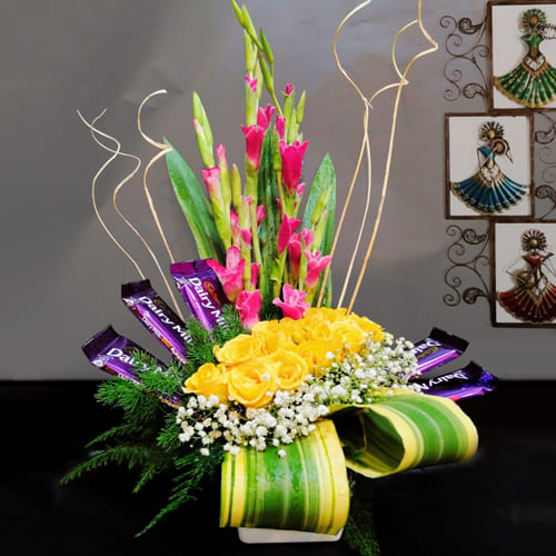 Aromatic Mixed Flowers N Cadbury Chocolate Arrangement