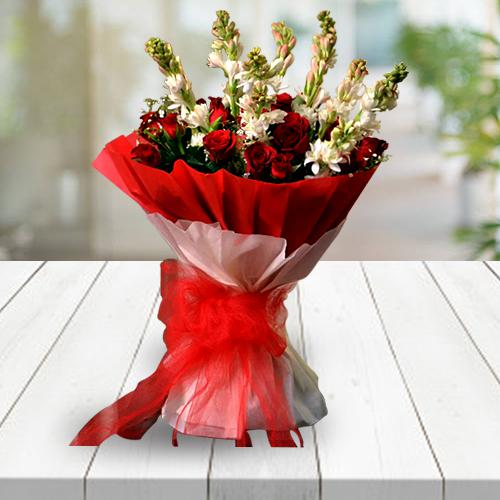 Classic Congratulations Bouquet of Red Roses n White Tuberose with Tissue Wrapping