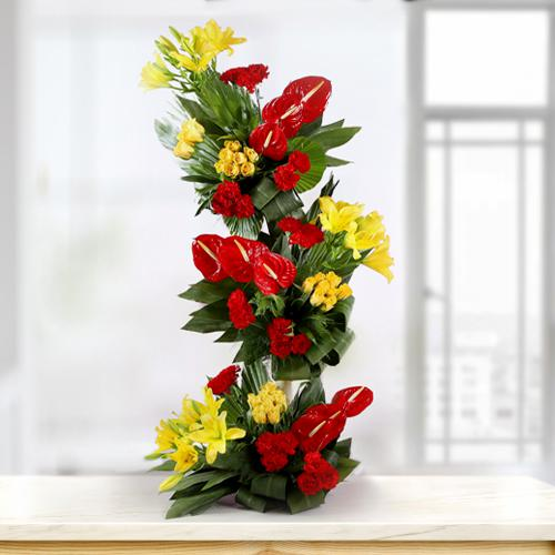 Magnificent Tall Arrangement of Fresh Flowers