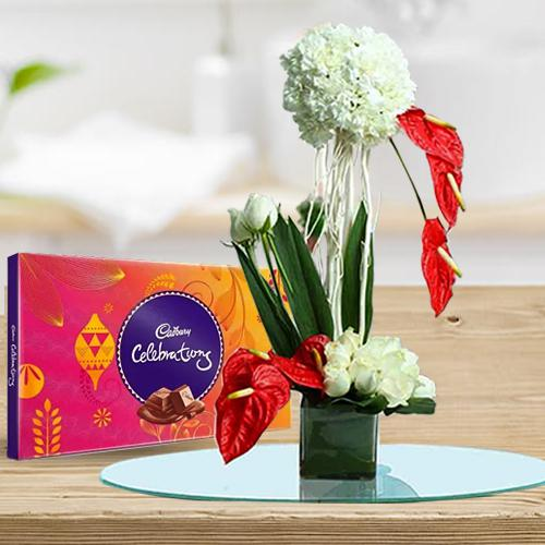 Beautiful Flowers Arrangement in Glass Vase with Cadbury Celebration