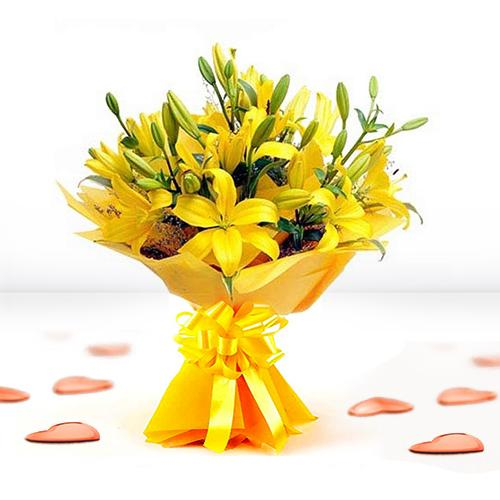 Blooming Yellow Lilies in a Bouquet